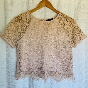 Forever 21 Pale Pink Crop Top with Lace Overlay S